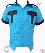 Leather Mens Sky Blue And Black Police Military Uniform Shirt Bluf Party