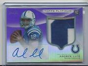 Andrew Luck 2012 Topps Platinum Purple Refractor Rpa 2 Color Patch Auto Rc /10