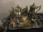 Vintage 1970and039s Wm Rogers 800 Silver Plated 5 Piece Tea Coffee With Tray