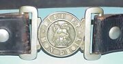 Great War Wwl British Silver Over Brass Buckle And Belt, Uk Lion And Kings Crown