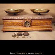 Antique Victorian Troemner Oak And Marble Top Apothocary Druggist Scale And Weight