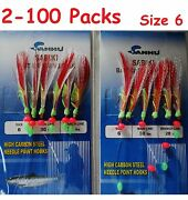 2 -100 Packs Size 6 Sabiki Bait Rigs 6 Hooks Red Feather Saltwater Fishing Lures
