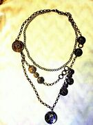 Vintage Neckless Long Chain Lady Fashion 1981 Black Color Coin Gift Hi-socity