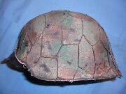 German Wwii M42 Repro Helmet W/ Custom Camo And Wire - Size 66 Shell, 59 Liner