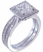 14k White Gold Princess Cut Diamond Engagement Ring And Band Halo Deco 1.45ctw