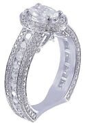 14k White Gold Oval Cut Diamond Engagement Ring Deco Antique Style Halo 1.90ctw