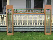 Set Of 3 Antique Victorian Stained Glass Window Transom And Side Door Architect