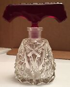 Rare Clear Crystal Czechoslovakian Perfume Bottle With Red T-shaped Stopper