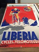 Original Vintage French Poster - Liberia - Cycles - Bikes - Bicycles - Racing