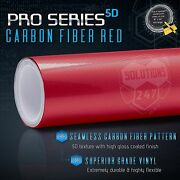 5d Real High Glossy Red Carbon Fiber Vinyl Wrap Roll - Bubble Free Air Release