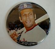 Vintage Mlb 1970's Fenway Park Sold Orlando Cepeda Photo Button Pin Stand 3.5