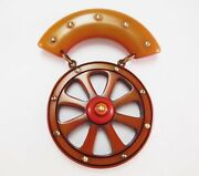 Vintage Bakelite Wagon Wheel Brooch Hand Carved Resin Wash Over Dyed Pin Rare