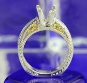 Vintage Hand Etched Platinum And 18k Gold Diamond Semi Mount 8.8 Grams