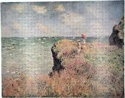New Hand Cut Wooden Monet The Cliff Walk 605 Pc Jigsaw Puzzle In Plywood Box