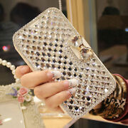 Lady Women Leather Wallet Bling Diamond Flip Stand Case Cover For Iphone Samsung