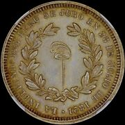 Finest And Only @ Pcgs And Ngc Ms62 Peru Independence Medal 4 Reale Toned Liberty