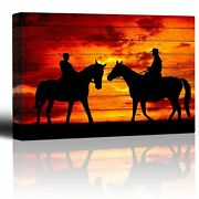 Wall26 - Two Riders Meet While On Horseback-canvas Art Home Decor - 16x24 Inches