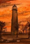Cape St. George Lighthouse, Florida Sunset. Gerald Hill Watercolor Notecards