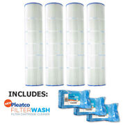 4 Pack Pleatco Pa126-pak4 Pool Filter Cartridges Hayward W/ 3x Filter Washes