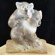 Koala Bear And Baby Figurine Herend Hungary Light Brown And Grey 5.5 New Never Sold