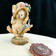 Koala Bear And With Hat Figurine Anri 3 Tall New Never Sold Wooden Made In Italy