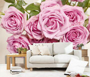 3d Pink Roses Leaves 24 Wall Paper Print Wall Decal Deco Indoor Wall Murals