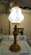 Vintage Metal Brass Colored Standing Table Lamp W/ Crown Milk Glass Shade 37 T