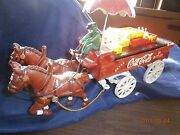 Vintage Coca Cola Cast Iron Horse Drawn Wagon Umbrella Cases Bottles Coke