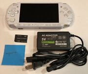 Pearl White Psp 3000 System W/ Charger And Memory Card Bundle Tested Works Import