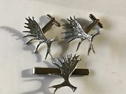 Moose Antlers On A Pair Of Cufflinks With A Tie Slide Set A57 English Pewter