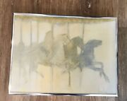 Denslow Carousel Horses Painting In Silver-colored Frame