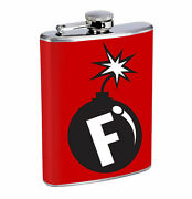 The F Bomb Funny Humor 01r Flask 8oz Stainless Steel Hip Drinking Whiskey