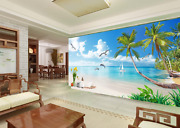 3d Palm Tree White Boat Paper Wall Print Wall Decal Wall Deco Indoor Murals