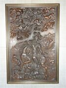 Antique European Hand-carved Walnut Wood Relief Medieval Warrior Knight Slaying