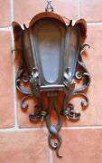 Hand Forged Outdoor Sconce Lantern Wall Mounted Lamp 29 Inches 74 Cm Handmade