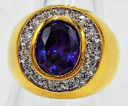 Men Ring Purple Amethyst 24k Yellow Gold Filled Gp Estate Dome Solitaire Size 9