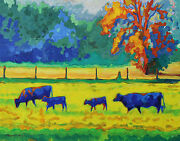 Texas Cows And Calves At Sunset Painting T Bertram Poole 24x30