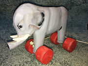 Wooden Elephant On Wheels Pull Toy Circus 9 Vintage Collectible Hand Carved