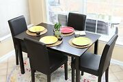 Home Life 5 Pc Black Leather 4 Person Table And Chairs Dining Dinette Parson New