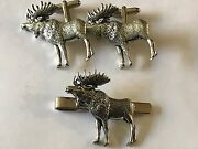 Standing Moose On A Pair Of Cufflinks With A Tie Slide Set A47 English Pewter