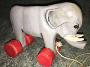 Wooden Elephant With Wheels Pull Toy Circus 9 Vintage Collectible Carved Wood
