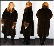 New Brown Sheared Mink Fur Coat Russian Sable Fur Trim Size 14 16 Xl Extra Large