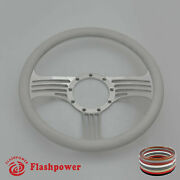 14and039and039 Billet Steering Wheels White Half Wrap Impala Chevy Ii Nova Chevelle