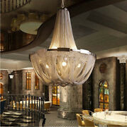 Led Creative Fashion Silver/gold Aluminum Chain Fixtures Ceiling Lamp Chandelier