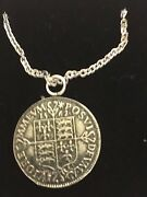 Elizabeth I Sixpence Coin Wc49 Pewter On A 24 Silver Plated Chain Necklace