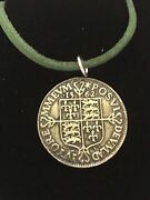 Elizabeth I Sixpence Coin Wc49 Fine English Pewter On A 18 Green Cord Necklace