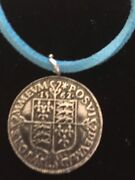 Elizabeth I Sixpence Coin Wc49 Fine English Pewter On A 18 Blue Cord Necklace