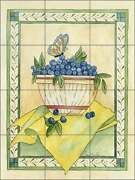 Ceramic Tile Mural Backsplash Mullen Blueberry Fruit Country Life Art Sm066