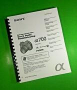 Sony Dslr A700 Camera 179 Page Owners Manual Guide