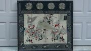 Antique 19c Chinese Rare Gold Thread Embroidery Panel Of Battle Scene Warriors